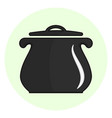 black outline cooking pot icon vector image vector image