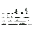 black silhouettes cactus on a white background vector image