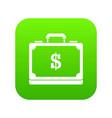briefcase full of money icon digital green vector image