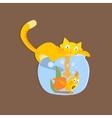 Cat Catshing Fish In Aquarium Image