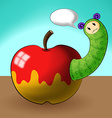 caterpillar cartoons and apple vector image