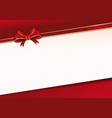 celebratory background with red ribbon and bow vector image