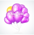 Color glossy violet balloons template for text vector image