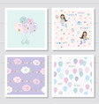 cute cartoon seamless patterns and templates set vector image