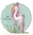 cute pink unicorn vector image vector image
