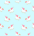 cute unicorns sky blue seamless pattern fairytale vector image