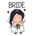 doodle character cute bride template for print vector image
