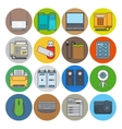 Electronic devices flat line icons vector image