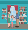 family members inside the house vector image