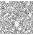 fastfood hand drawn doodles seamless pattern fast vector image vector image