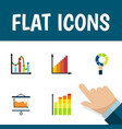 flat icon graph set of pie bar chart statistic vector image vector image
