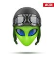 Green Alien head in aviator helmet vector image vector image
