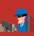 hacker is happy while hacking desktop computer vector image vector image