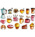 hand drawn watercolor coffee set vector image