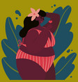 happy plus size girl body positive concept love vector image vector image