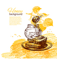 Honey background with hand drawn sketch vector image vector image