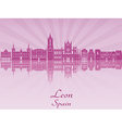 Leon skyline in purple radiant orchid vector image vector image