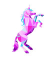 magic unicorn in low poly style geometric vector image
