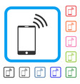 mobile wi-fi signal framed icon vector image vector image