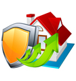model house with shield vector image vector image