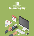 november accounting day concept background vector image
