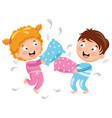 of kids playing pillow fight vector image