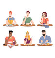 people enjoy food drinks man woman dinner time vector image