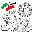 pizza collection sketch cartoon vector image