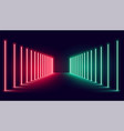 red and green neon light stage background design vector image vector image