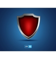 red shield on blue background vector image vector image