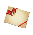 Retro card with red bow2 vector image vector image