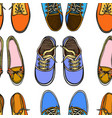 seamless pattern with red and blue shoes vector image vector image