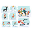 set cartoon people in winter clothes including vector image vector image