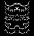 set floral hand drawn dividers on a black vector image vector image