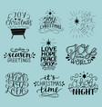 set of 9 christmas inscriptions with lettering o vector image