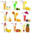 set of fruit juices from pineapple plum banana p vector image vector image