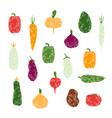 set of grunge vegetables isolated vector image