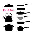 Set of silhouettes utensils Pots pans kettle