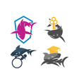 shark key education magnify logo design set vector image vector image