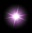 shining star on black background purple color vector image vector image