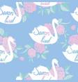 swan lake seamless pattern - pink vector image vector image