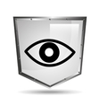 symbol surveillance icon shield steel vector image