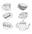 tea set a collection stylized cups and vector image vector image