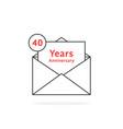 thin line 40 years anniversary logo like open vector image vector image