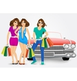 three women with shopping bags vector image vector image