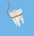 tooth pulled with rope isometric vector image