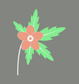 tree leaf with flower in flat style vector image vector image