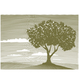 woodcut tree landscape vector image vector image