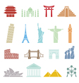 World landmarks icons abstract set vector image