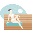 young woman relaxing in hot sauna bath vector image